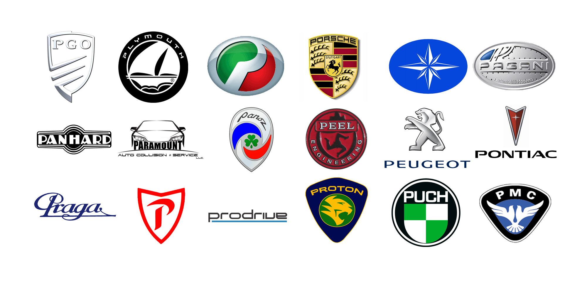 Car Brands Starting With P >> Car Brands With A Z